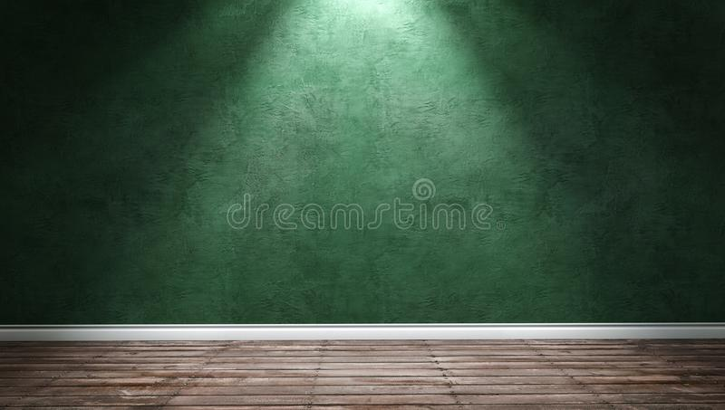 Big modern room with green plaster wall and directional light royalty free stock photos