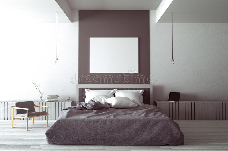 Download 3D Rendering : Illustration Of Big Spacious Bedroom In Soft Light  Color. Big Comfortable