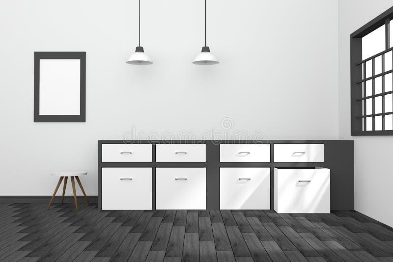 3D rendering : illustration of black and white interior modern kitchen room design with two vintage lamp hanging. wooden floor. vector illustration