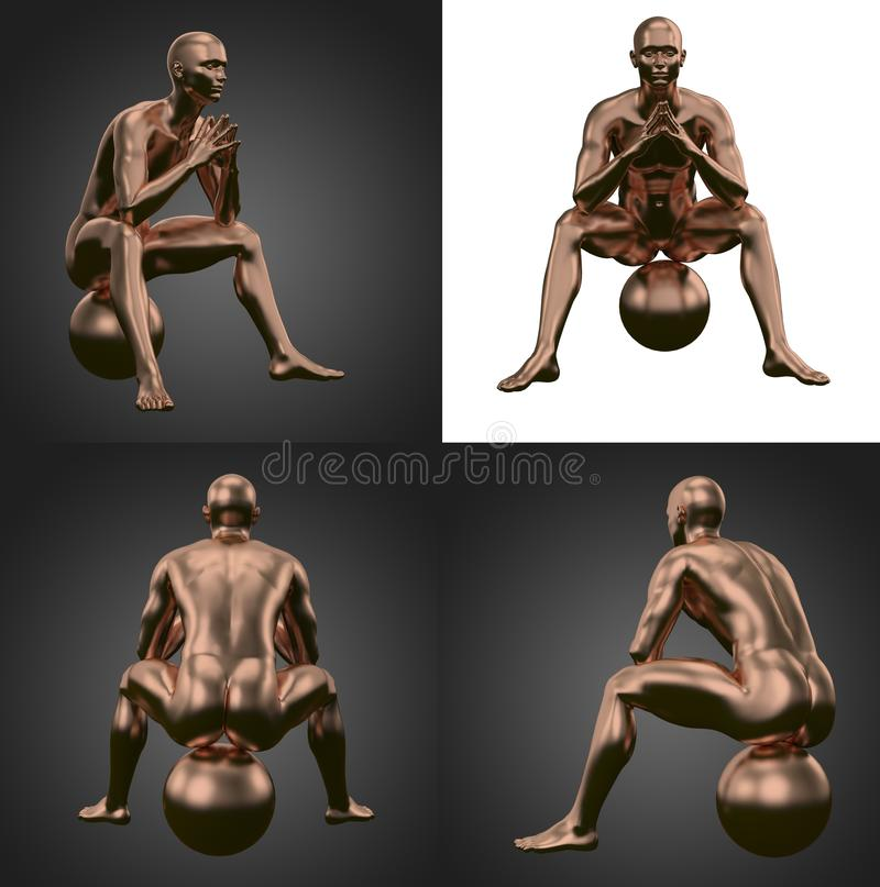3d rendering illustration of copper human. Body, male, system, anatomy, health, white, full, medical, science, isolated, lymph, blue, background, person, metal vector illustration