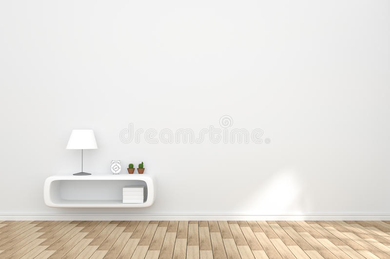 3D Rendering : illustration of cozy living-room interior with white book shelf against matt white wall and wooden floor. royalty free illustration