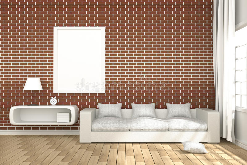 3D Rendering : illustration of cozy living-room interior with white book shelf and white sofa furniture against red brick wall stock illustration