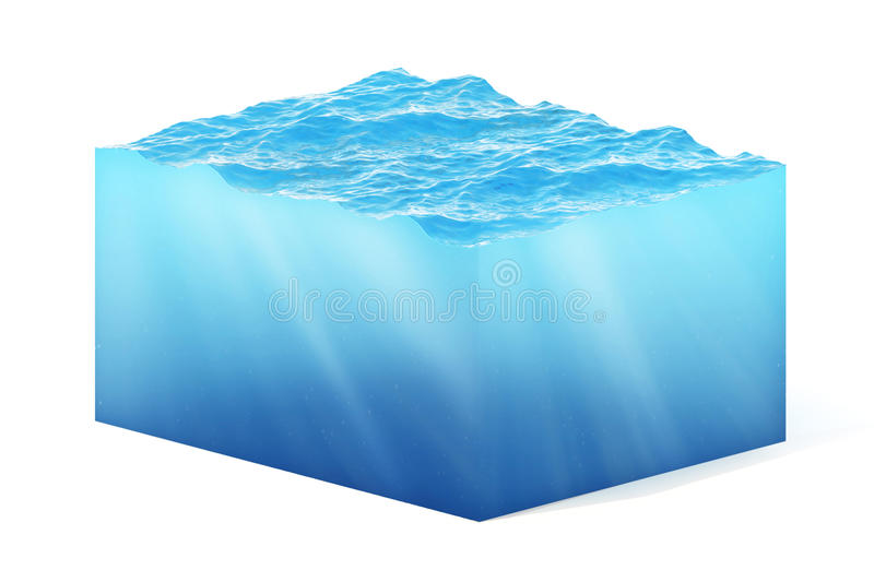 3d rendering illustration of cross section of water cube isolated on white with shadow.  stock illustration