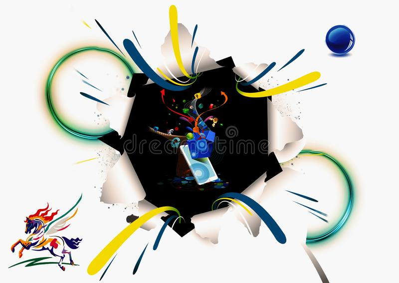 3d Rendering Illustration Of A Futuristic Technological Shapes Pursing Out Of A Shattered White Paper Artwork royalty free stock photography