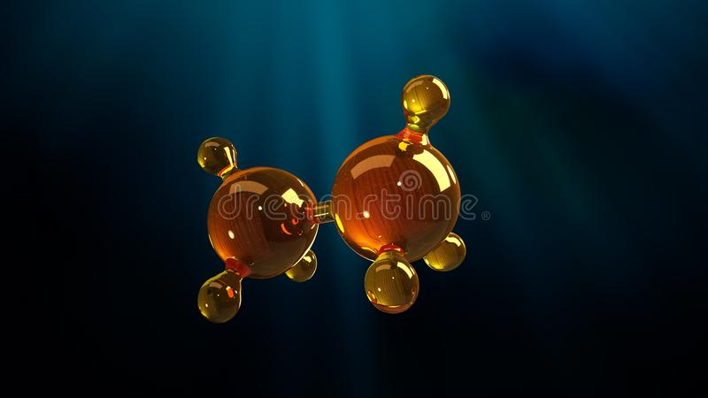 3d rendering illustration of glass molecule model. Molecule of oil. Concept of structure model motor oil or gas vector illustration