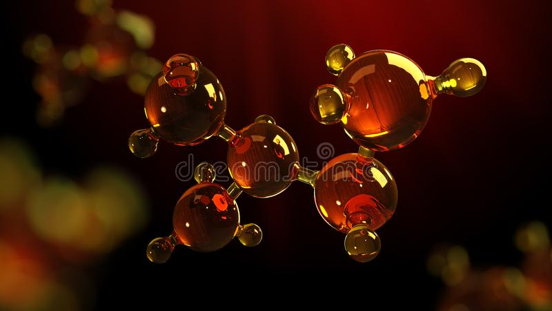 3d rendering illustration of glass molecule model. Molecule of oil. Concept of structure model motor oil or gas stock illustration