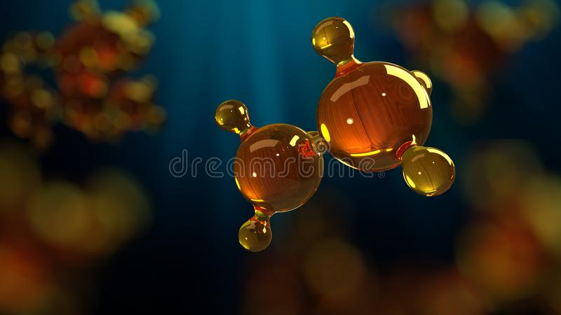 3d rendering illustration of glass molecule model. Molecule of oil. Concept of structure model motor oil or gas royalty free illustration