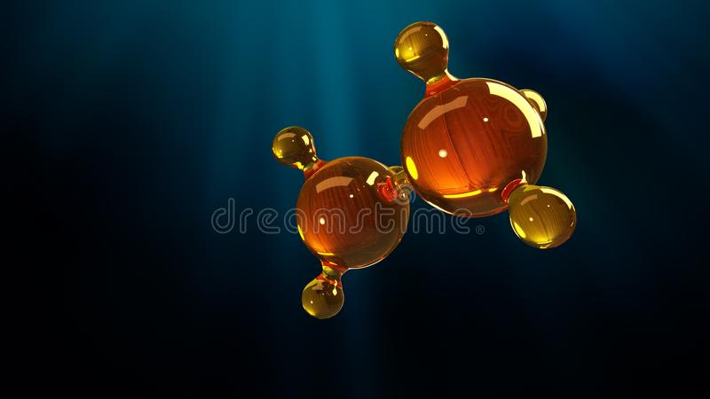 3d rendering illustration of glass molecule model. Molecule of oil. Concept of structure model motor oil or gas stock illustration