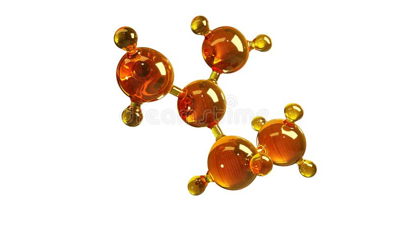 3d rendering illustration of glass molecule model. Molecule of oil. Concept of structure model motor oil or gas isolated on white royalty free illustration