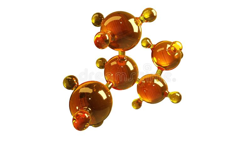 3d rendering illustration of glass molecule model. Molecule of oil. Concept of structure model motor oil or gas isolated on white stock illustration