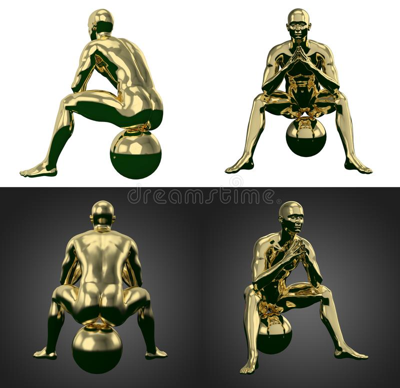 3d rendering illustration of gold human collection. Body, male, system, anatomy, health, white, full, medical, science, isolated, lymph, blue, background vector illustration