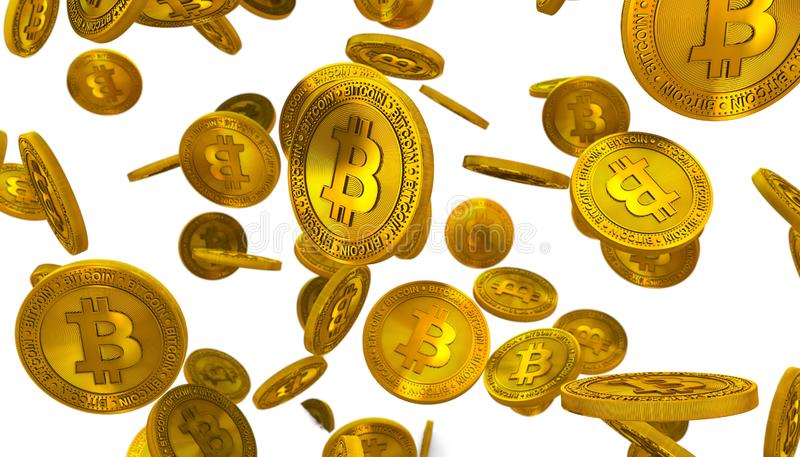 3d Rendering illustration of Many Golden Bitcoin Coin Isolated Falling Down on the Floor on White Background vector illustration