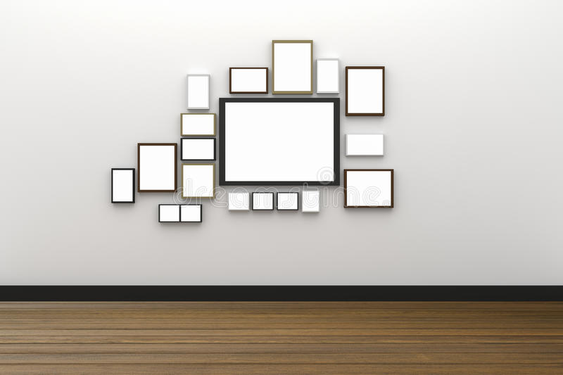 3D Rendering : illustration of many size of blank photo frame hanging on white wall interior with wooden floor,clipping path vector illustration
