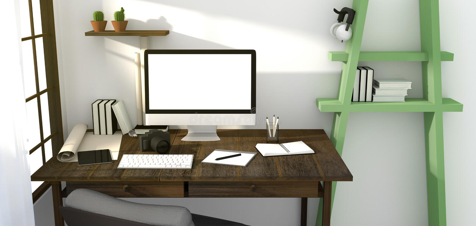3D Rendering : illustration of modern creative workplace mockup.PC monitor on wooden table.translucent curtain and glass window w. Ith sunrise shining from vector illustration