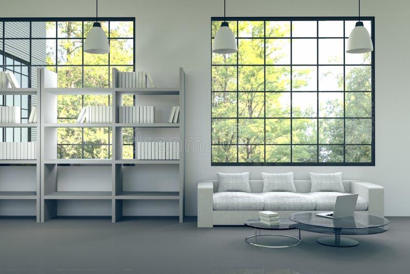3D rendering : illustration of modern house interior.living room part of house.white furniture in white room style.modern house. White wall and black floor vector illustration