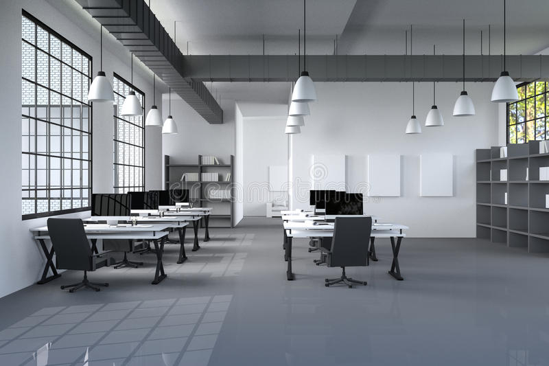 3D Rendering : illustration of modern interior Creative designer office desktop with PC computer.computer labs.working place. Of graphic design.close-up.Mock up royalty free illustration