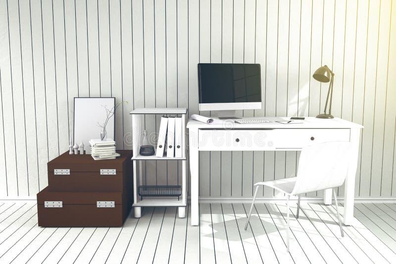 3D Rendering : illustration of modern interior Creative designer office desktop with PC computer.working place of graphic design vector illustration
