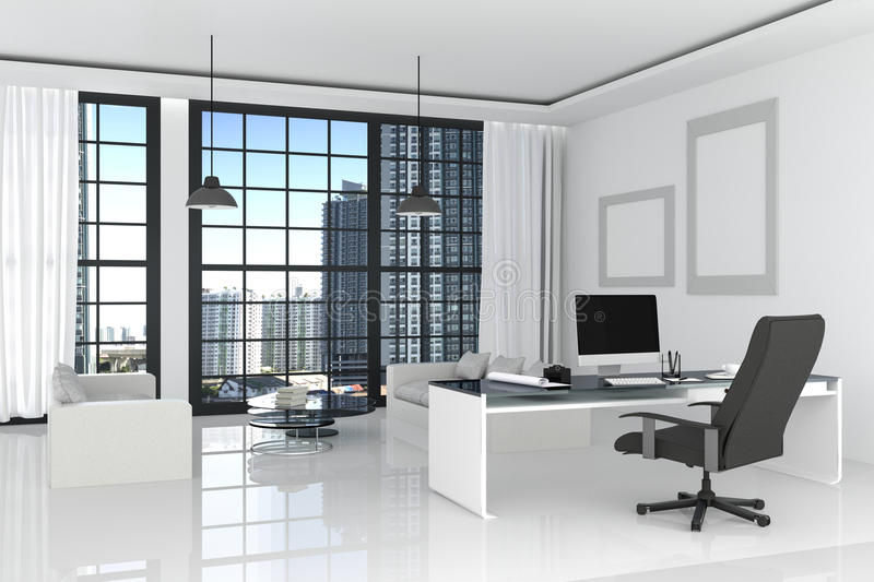3D Rendering : illustration of modern interior white office of Creative designer desktop with PC computer,keyboard,camera,lamp. Hanging and other items on stock illustration