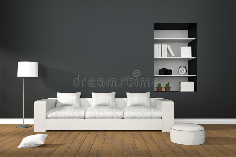 3D Rendering : illustration of Modern living-room interior with white sofa furniture. Against matt black wall.book shelf in hole of wall.natural light from royalty free illustration