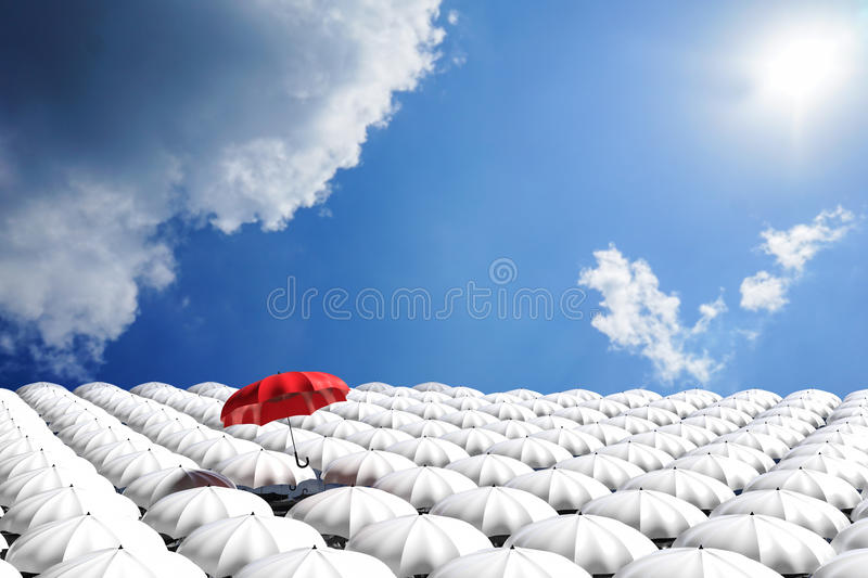 3D Rendering : illustration of Red umbrella floating above from the crowd of many white umbrellas against blue sky and clouds. Business leader concept, being stock illustration