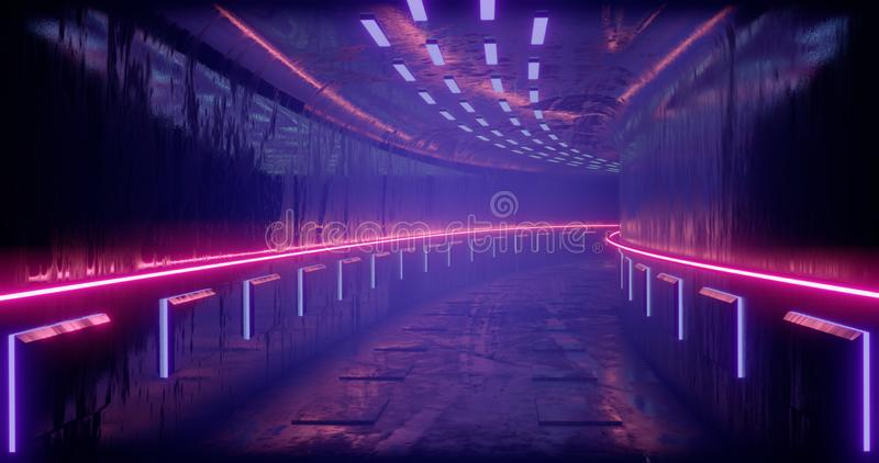 3D rendering illustration. Sci-Fi futuristic abstract gradient blue violet pink neon. A glowing corridor on the reflection of the royalty free stock images