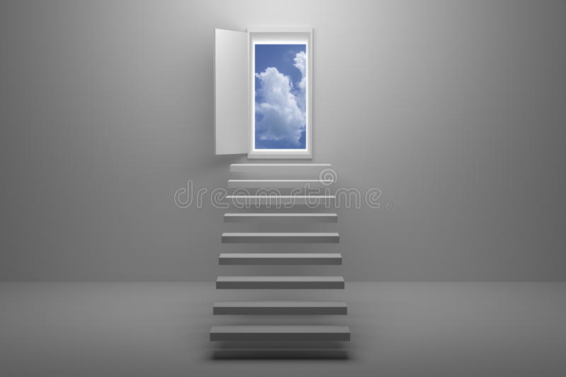 3D Rendering : illustration of stair or steps up to the sky in a door against white wall and floor,Opened door to blue sky stock illustration