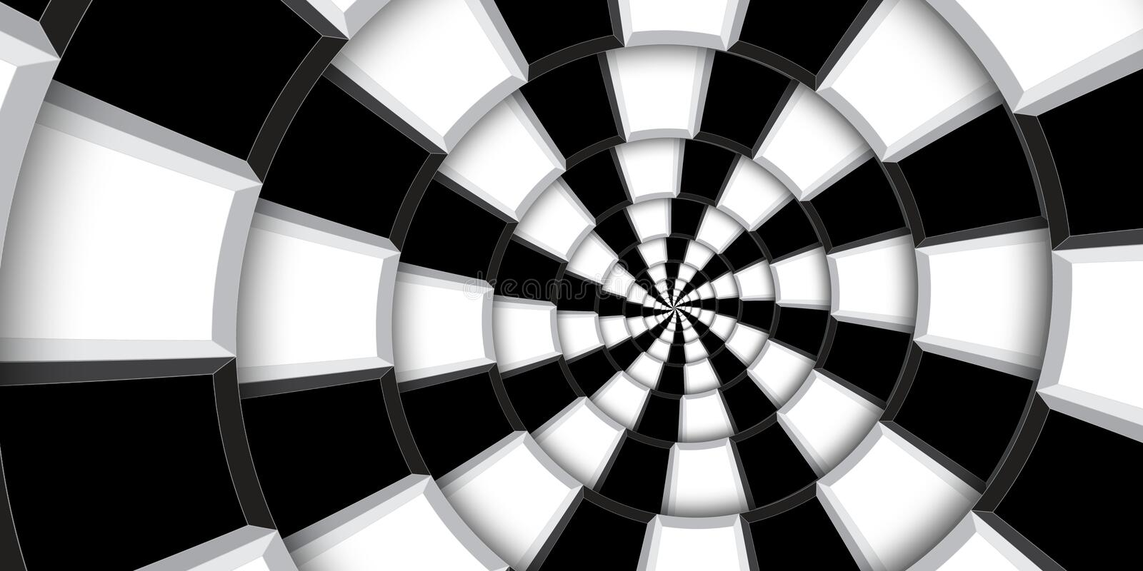 3d rendering illustration swirl background. Black and white squares and lines distorted into abstract spiral pattern. Twisted roun stock photography