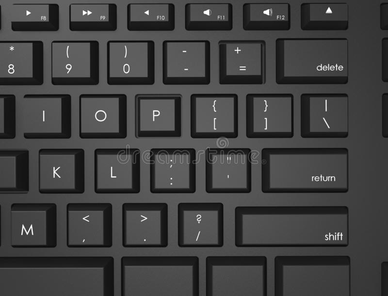 3D rendering illustration topview of a black Qwerty keyboard. stock images