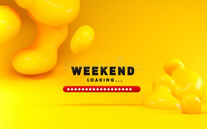 3d rendering illustration of weekend loading bar and abstract liquid shapes. Cartoon style with bright bold colors. vector illustration