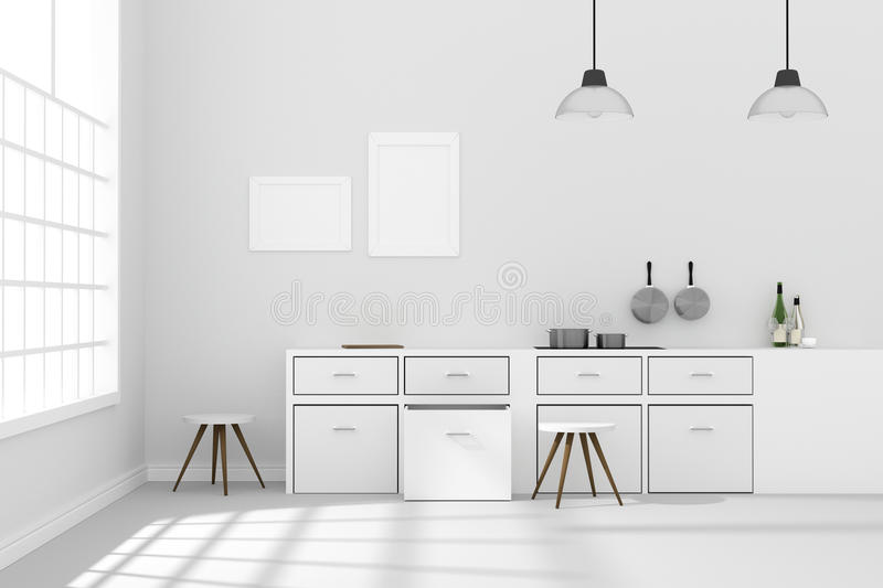 3D rendering : illustration of White interior modern kitchen room design with two vintage lamp hanging.shiny gray floor.sun light vector illustration