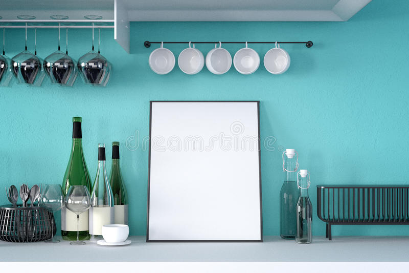 3d rendering : illustration of white mock up frame. hipster background. mock up white poster or picture frame.kitchen room vector illustration
