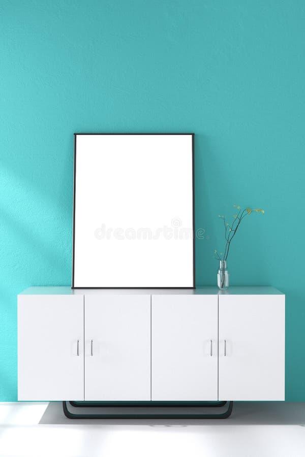 3d rendering : illustration of white mock up frame. hipster background. mock up white poster or picture frame. living room royalty free illustration