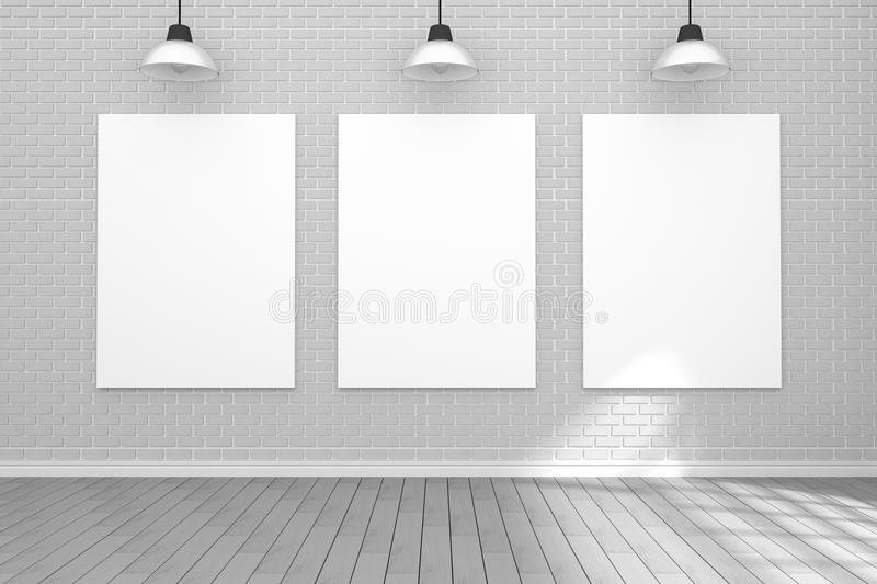 3D rendering : illustration of white poster hanging on the wall in empty room.space for your text and picture.product display. Template.white brick wall and royalty free illustration