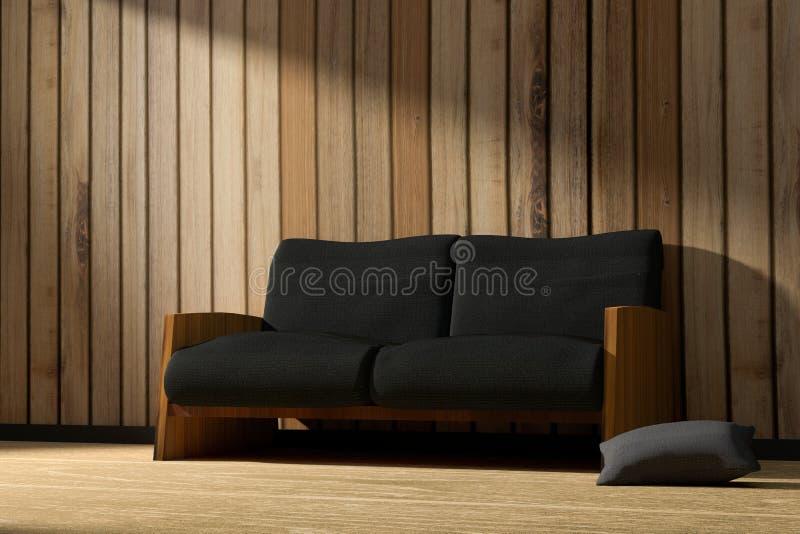 3D rendering: ilustracja wewnętrzny drewniany pokój z nowożytnym loft minimalizmu meble stylem w wschodu słońca lub zmierzchu mom ilustracji
