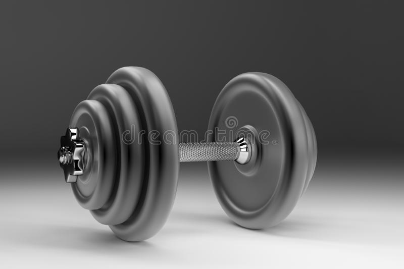3D rendering of a dumbbell for sports. Bodybuilding equipment royalty free stock photo
