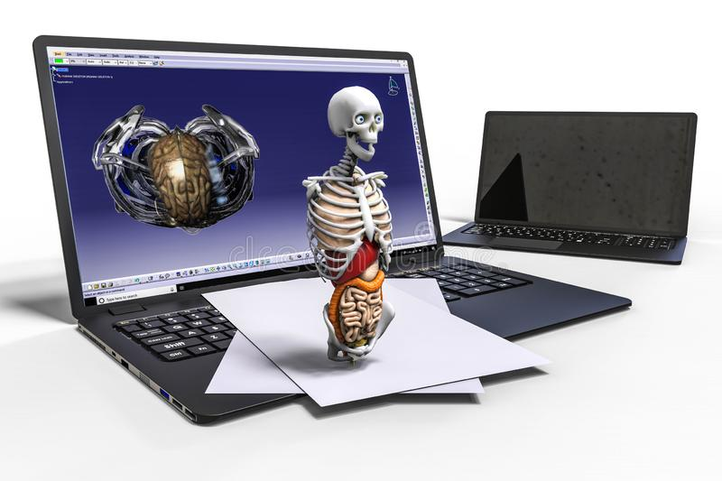 3D rendering representing a computer aided design of a human skeleton stock illustration