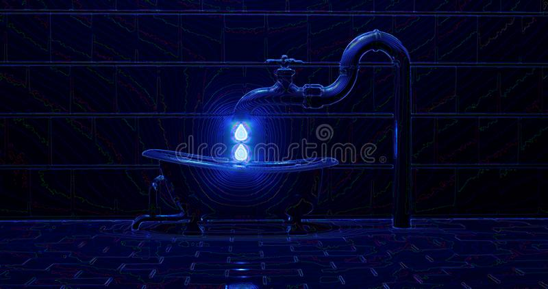 3d rendering. Interior bathroom with bathtub, faucet, and sewer pipes. Night scene with neon contour lines. Abstract illustration stock illustration