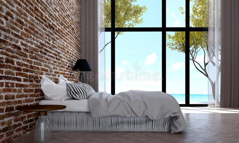 Download The Modern Bedroom Interior Design And Red Brick Wall Pattern  Background And Sea View Stock
