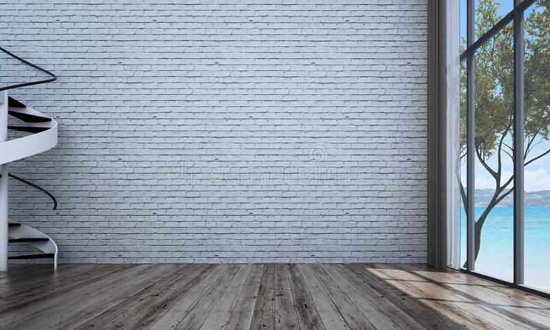 The Empty Living Room Interior Design And White Brick Wall