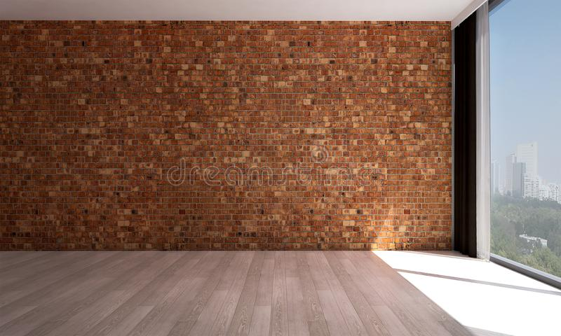 Download The Empty Living Room Interior Design And Red Brick Wall Pattern  Background Stock Illustration