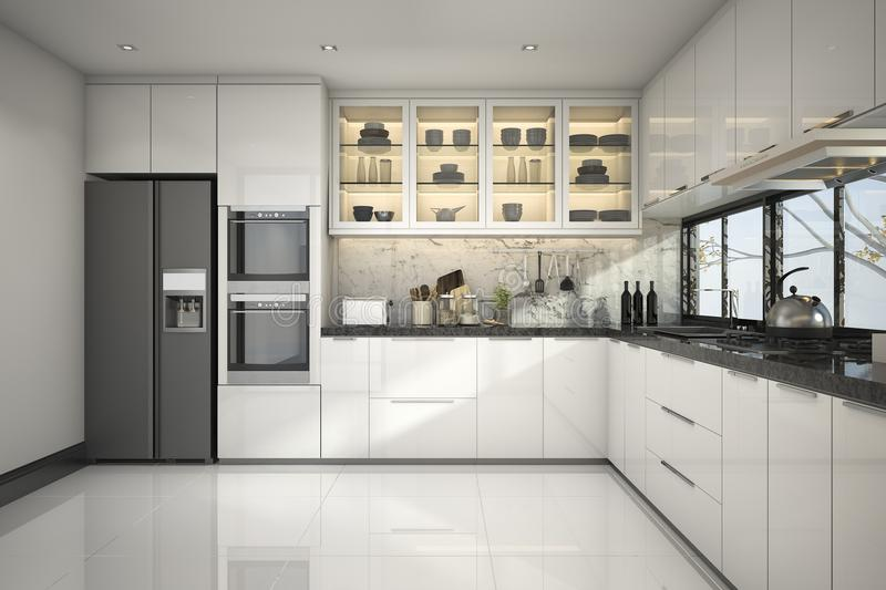 3d Rendering Beautiful Modern White Kitchen With Marble Decor Stock ...