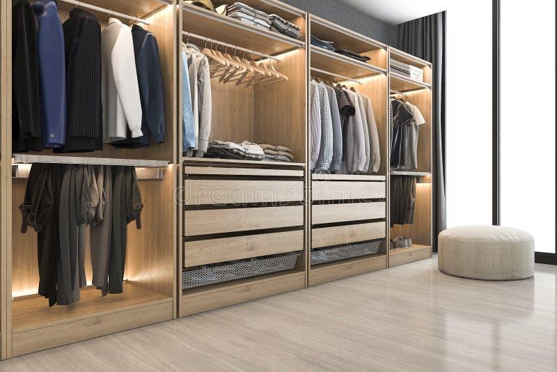 Download 3d Rendering Modern Scandinavian White Wood Walk In Closet With  Wardrobe Near Window Stock Illustration