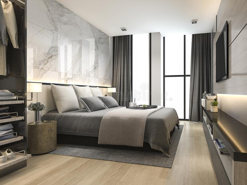 Download 3d Rendering Luxury Modern Bedroom Suite In Hotel With Wardrobe And Walk Closet Stock