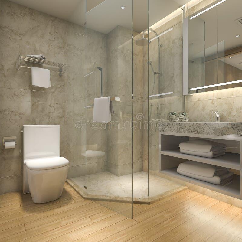Download 3d Rendering Modern Luxury Wood Bathroom In Suite Hotel Stock Illustration