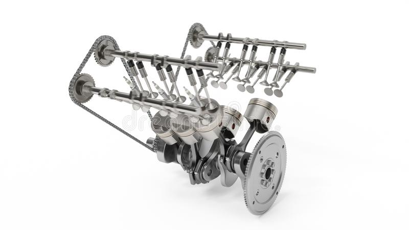 3d rendering of an internal combustion engine. Engine parts, crankshaft, pistons, fuel supply system. V6 engine pistons. With crankshaft isolated on white stock illustration