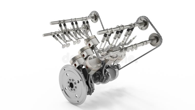3d rendering of an internal combustion engine. Engine parts, crankshaft, pistons, fuel supply system. V6 engine pistons. With crankshaft isolated on white royalty free illustration