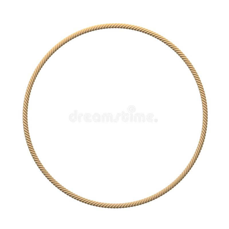 3d rendering of an isolated beige rope making a complete circle on a white background. royalty free illustration