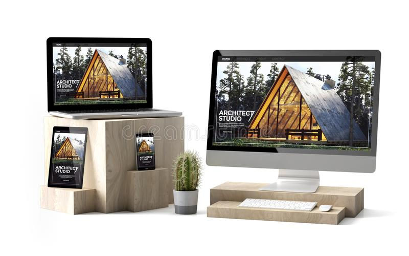 wooden cubes devices isolated architect responsive website stock illustration