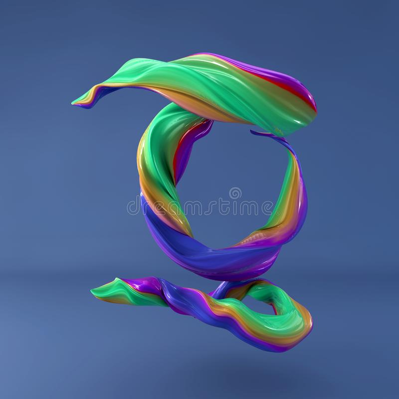 3d rendering of isolated letter. Wavy dabs of colorful paint by calligraphy brush in space. Three dimensional strokes. 3d rendering of abstract wavy dabs of stock illustration