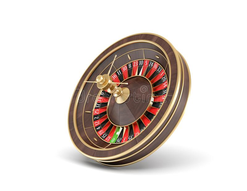 3d rendering of an isolated wooden casino roulette with golden decorations standing bent on one side. Casino games. Winning chance. Black or red betting vector illustration